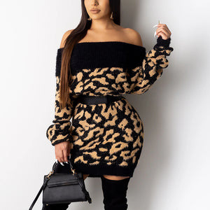 Fashion boat neck leopard pattern loose knit short dress