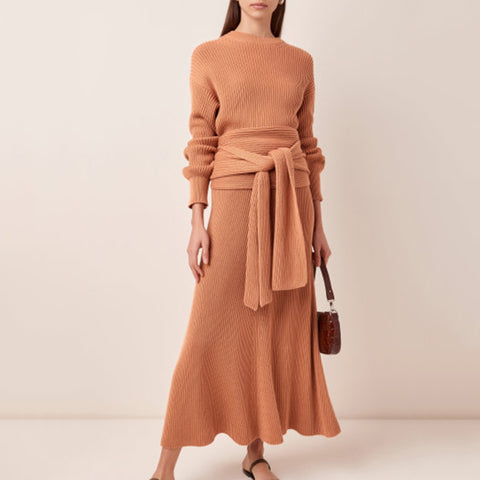 Fashion Round Neck Solid Color Long Sleeve Ruffle Dress