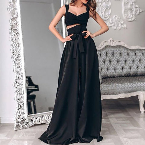 Stylish sexy solid color sleeveless jumpsuit