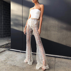 Sexy Off-shoulder See-through Jumpsuit