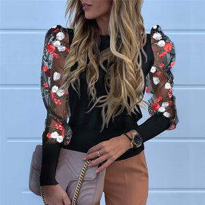 Sexy Embroidery Patchwork Puff Sleeve Shirt