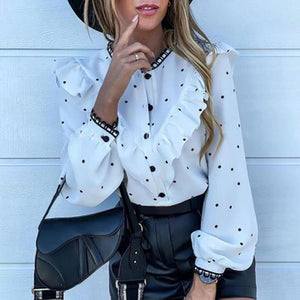 Casual Flounce Polka Dot Long Sleeve Shirt