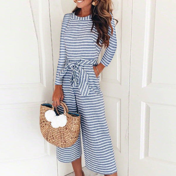 Fashion Stripe Long Sleeve Jumpsuits