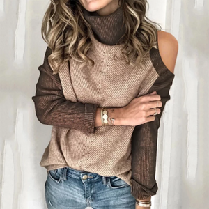 Casual high neck bare shoulder solid color splicing sweater