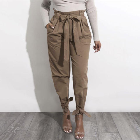Solid Color High-Waisted Loose Casual Pants