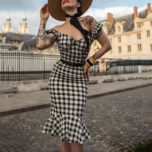 Women's Fashion Plaid Slim Tube Top Dress
