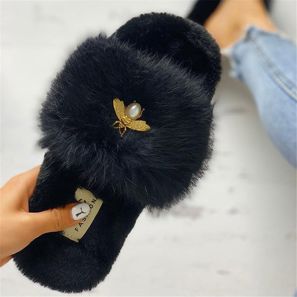 Small bee plush flat slippers