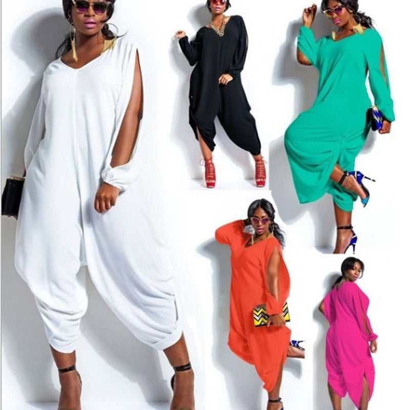 Round Neck Slit Sleeve Loose Jumpsuit