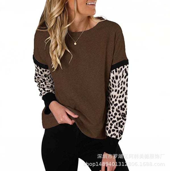 Casual Leopard Patchwork Long Sleeve Sweatshirt