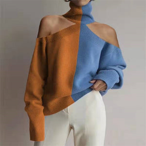 Fashion High Collar Off Shoulder Color Block Sweater