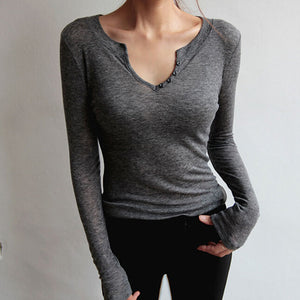 Sexy V Neck Pure Colour Long Sleeve Top