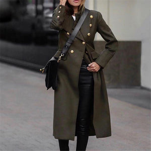 Women's Stylish Fold Collar Stud Army Green Coat