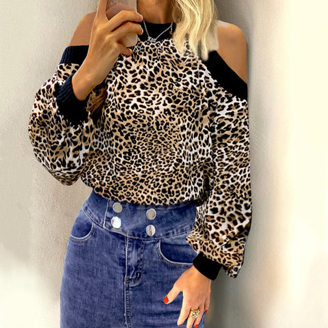 Sexy Hollow Lantern Sleeve Leopard Print Long Sleeve Chiffon Blouse