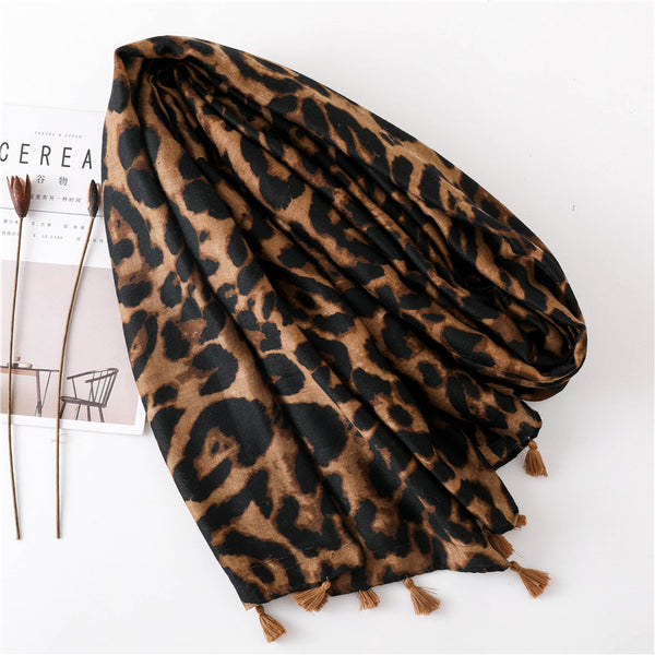 Fashion Cotton Linen Leopard Scarf Long Paragraph Wild Ladies Dual-use Shawl