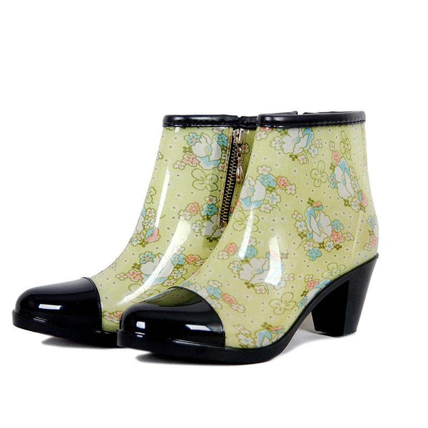 Fashion Side Zipper Rain Boots Female Non-Slip High Heel Rain Boots Short Tube Boots Waterproof Shoes