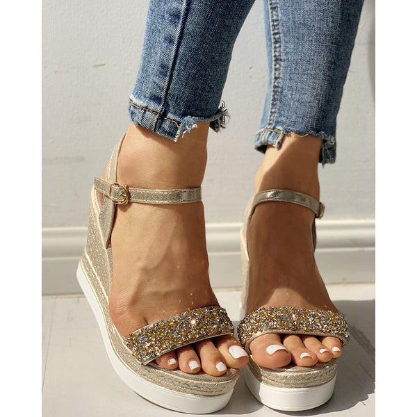 Fashion Casual Rhinestone Wedge Sandals