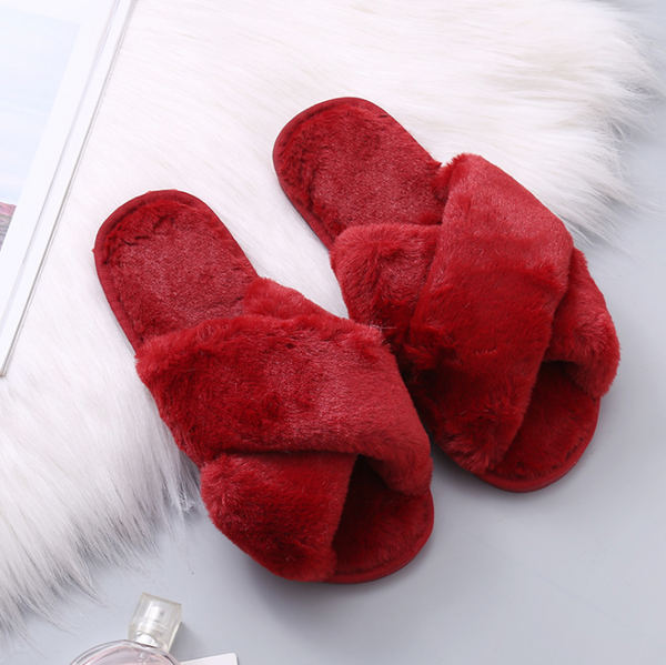 Plush cross sweet home fashion slippers