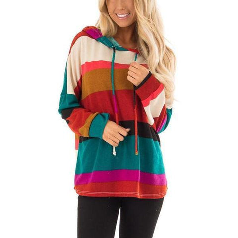 Fashion Slim Rainbow Stripe Hooded Sweatshirt