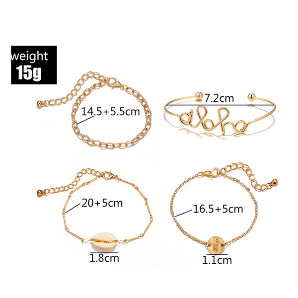 Fashion Shell Letter Alloy Bracelet