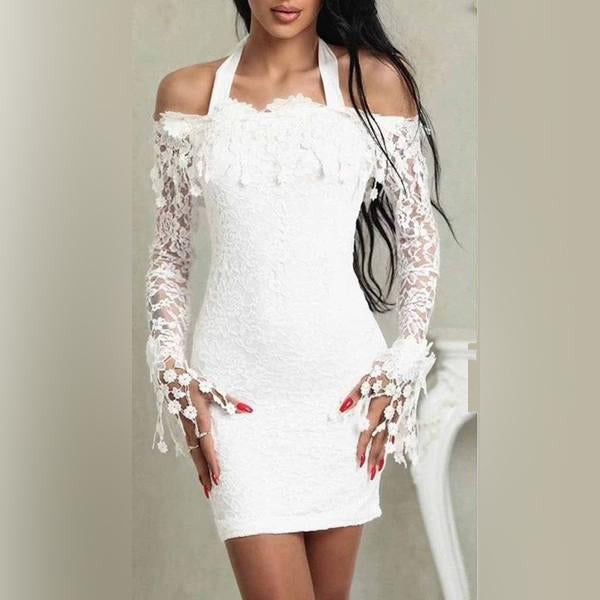 Casual Off-Shoulder Lace Long Sleeve Bodycon Dresses