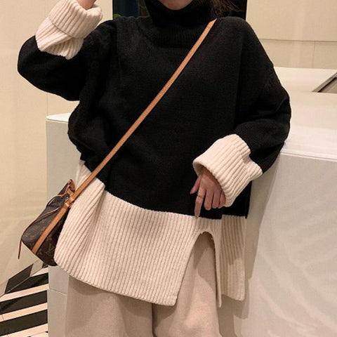Fashion High Collar Color Matching Knitted Sweater