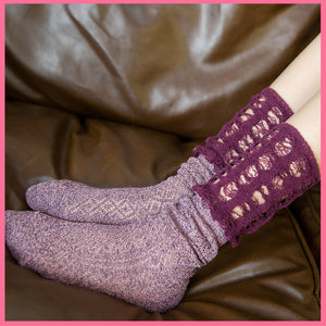 Retro ladies pure color hollow thick line breathable socks