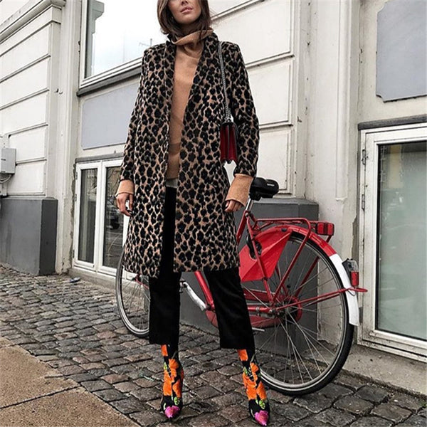 Ladies Fashion Casual Leopard Buttoned Coat
