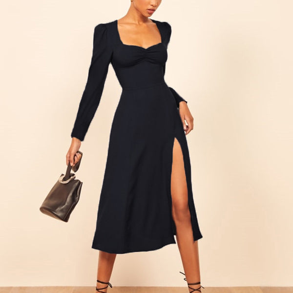 Vintage Square-cut Collar Long Sleeve Slit Midi Dress