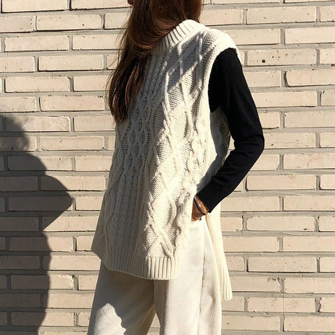 Casual round neck solid color twist sleeveless split sweater
