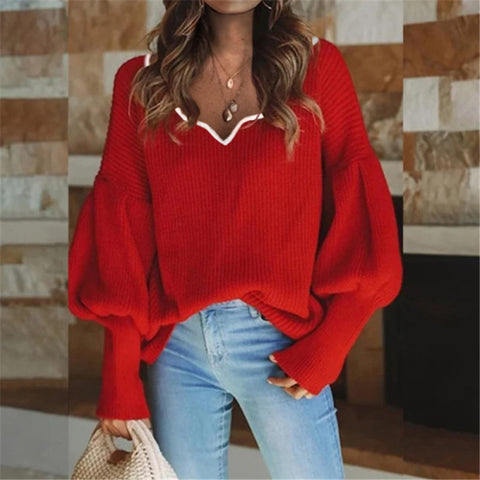Women's Casual Lantern Sleeve Knit Top