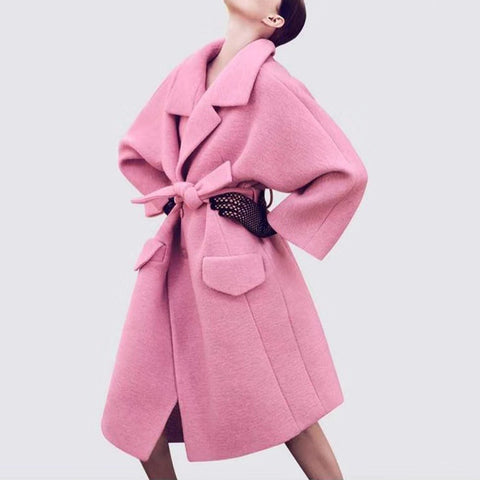 Pure Color Lapel Long Sleeved Coat