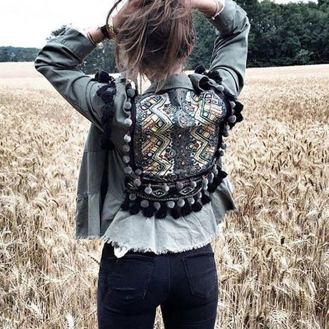 Women's street print denim jacket