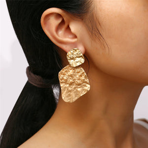 Creative Punk Style Metal Bump Textured Irregular Earrings