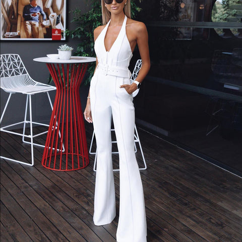 Sexy V Neck Off-shoulder Pure Colour Jumpsuit
