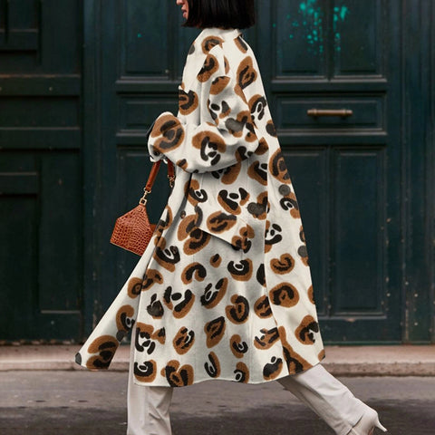 Fashion leopard ladies long coat