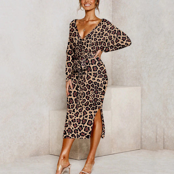 Retro deep v leopard print belted split batwing sleeves knit dress
