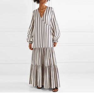 Vacation Casual Long Sleeve Striped Loose Dress