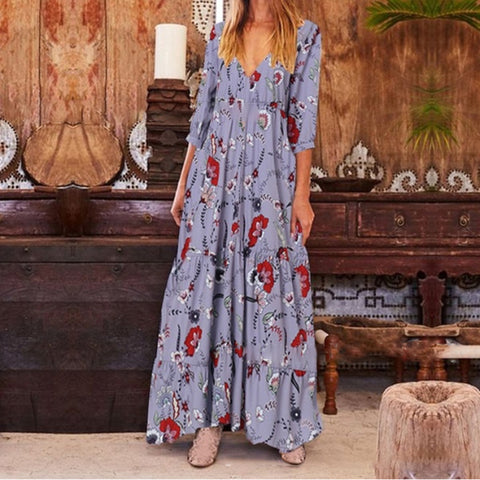 Vacation Casual V-Neck Flower Print Loose Dress
