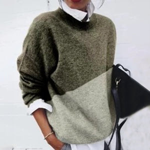 Commuting Round Neck Coloring Long Sleeve Sweater