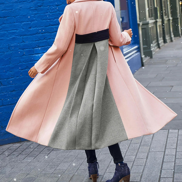 Fashion lapel colorblock loose wool coat