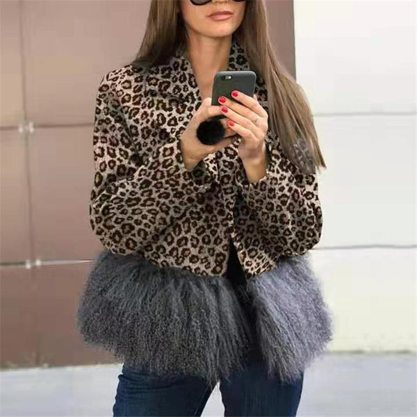 Fashion Lapel Leopard Printed Overcoat