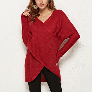 Fashion solid color cross V-neck sweater