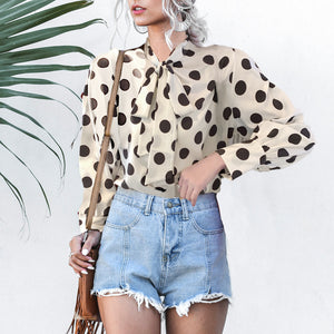 Fashion Vintage Bow Lace Up Polka Dot Blouse