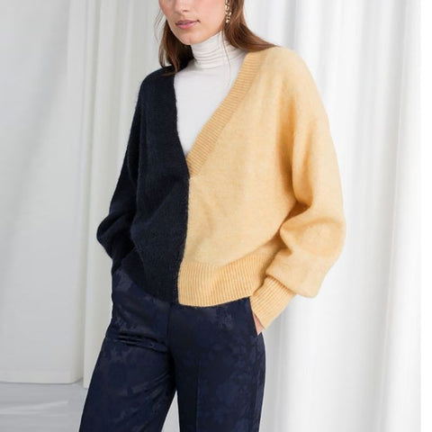Fashion Deep V Neck Splicing Color Long Sleeve Loose Sweater