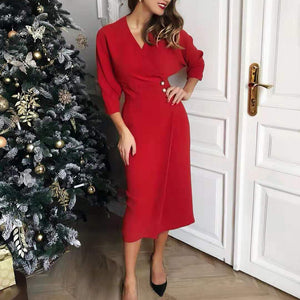 Fashion V-neck Bat Sleeves Decorative Buttoned Slim Dress