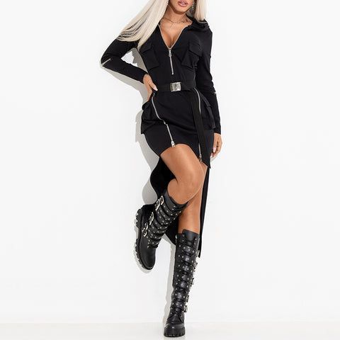 Punk Street Fashion Black Zipper Dress