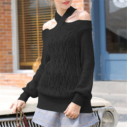 Halter Knit Twist Lantern Sleeve Sweater