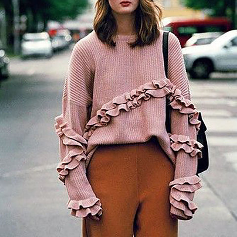 Fashion solid color pleated sweater