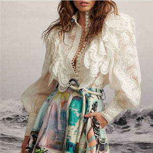 Fashion women's lantern sleeves hollow shirt