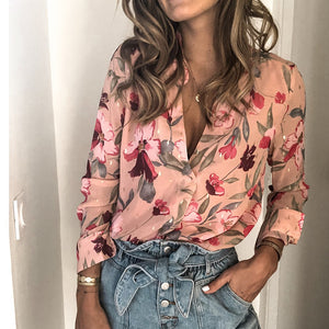 Women's Fashion V-Neck Floral Printed Blouse